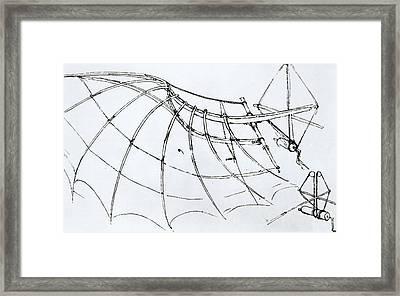 Diagram Of A Mechanical Wing Framed Print by Leonardo Da Vinci