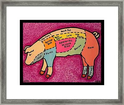 Diagramed Pig Framed Print