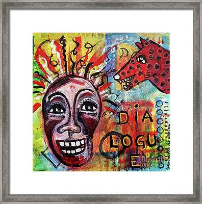 Framed Print featuring the mixed media Dialogue Between Red Dawg And Wildwoman-self by Mimulux patricia no No