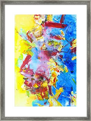 Dialogue In Yellow And Blue Framed Print