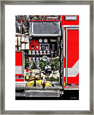 Dials And Hoses On Fire Truck Framed Print by Susan Savad