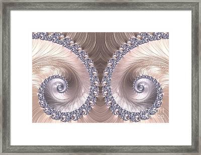 Diamond And Pearl Seashell Swirls Fractal Abstract Framed Print