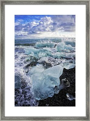 Framed Print featuring the photograph Diamond Beach Blue Ice In Iceland by Matthias Hauser