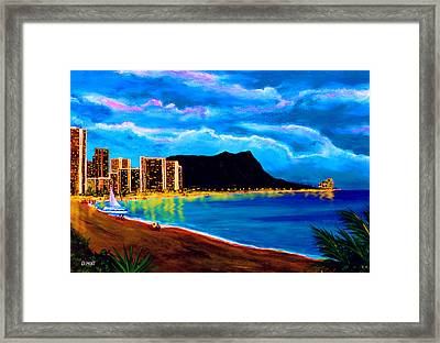 Diamond Head And Waikiki Beach By Night #92 Framed Print by Donald k Hall