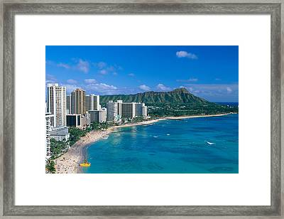 Diamond Head And Waikiki Framed Print by William Waterfall - Printscapes