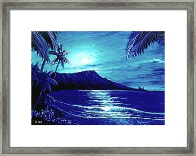 Diamond Head Moon #123 Framed Print by Donald k Hall