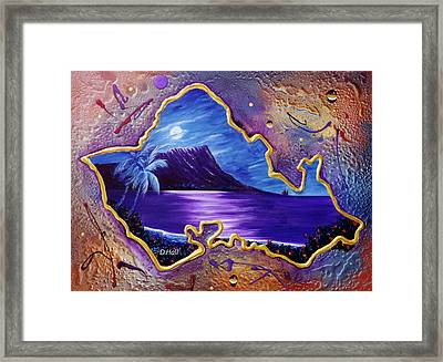 Diamond Head Moon Oahu #141 Framed Print by Donald k Hall