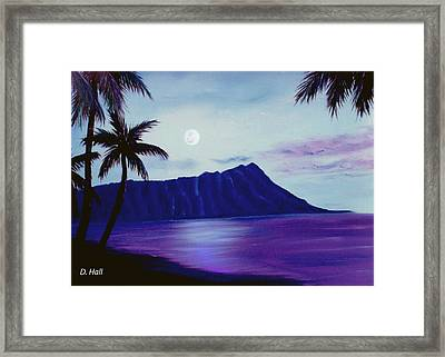 Diamond Head Moon Waikiki #34 Framed Print by Donald k Hall