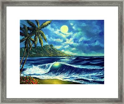 Diamond Head Moon Waikiki Beach #407 Framed Print by Donald k Hall