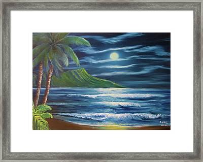 Diamond Head Moon Waikiki Beach  #409 Framed Print by Donald k Hall