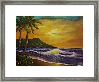 Diamond Head Sunrise Oahu #414 Framed Print by Donald k Hall