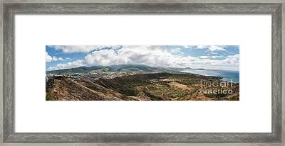 Diamond Head View Panoramic Framed Print