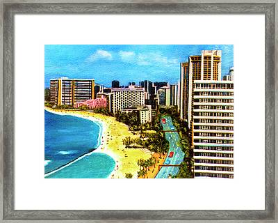 Diamond Head Waikiki Beach Kalakaua Avenue #94 Framed Print by Donald k Hall