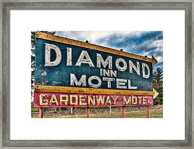 Diamond Inn Motel Sign Framed Print