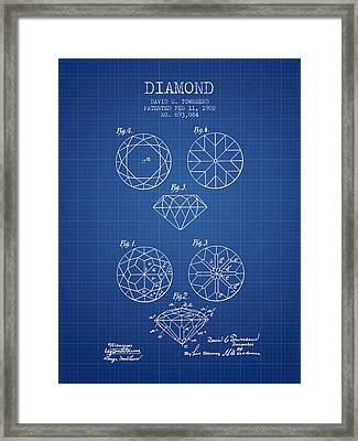 Diamond Patent From 1902 - Blueprint Framed Print by Aged Pixel