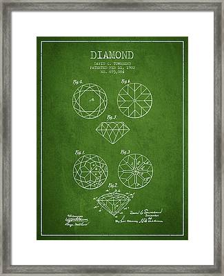Diamond Patent From 1902 - Green Framed Print by Aged Pixel