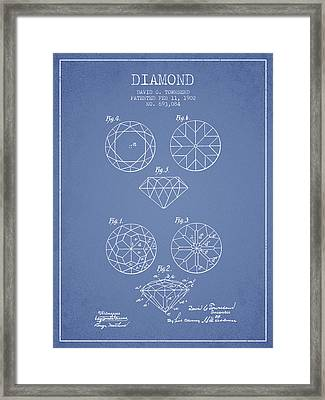 Diamond Patent From 1902 - Light Blue Framed Print by Aged Pixel