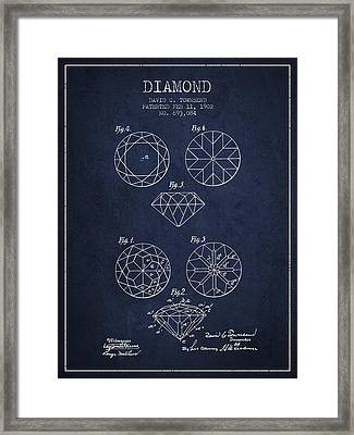 Diamond Patent From 1902 - Navy Blue Framed Print by Aged Pixel