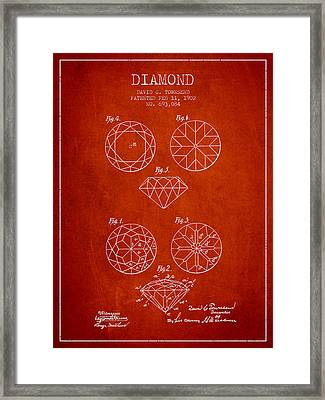 Diamond Patent From 1902 - Red Framed Print