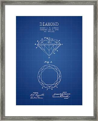 Diamond Patent From 1906 - Blueprint Framed Print by Aged Pixel