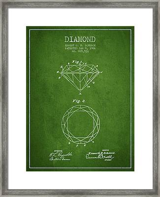 Diamond Patent From 1906 - Green Framed Print by Aged Pixel