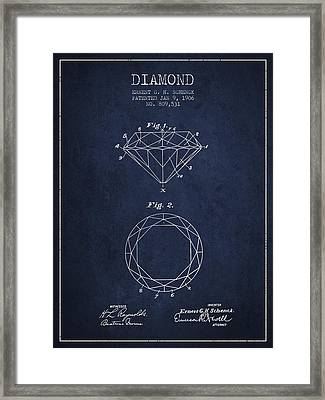 Diamond Patent From 1906 - Navy Blue Framed Print by Aged Pixel