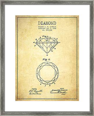Diamond Patent From 1906 - Vintage Framed Print by Aged Pixel