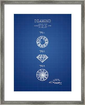 Diamond Patent From 1945 - Blueprint Framed Print by Aged Pixel