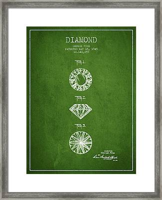 Diamond Patent From 1945 - Green Framed Print by Aged Pixel