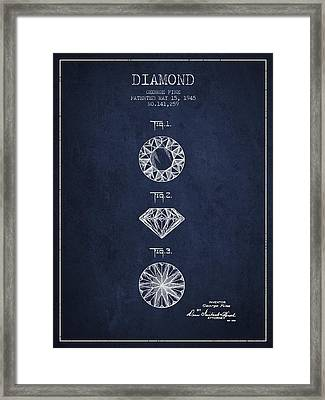 Diamond Patent From 1945 - Navy Blue Framed Print by Aged Pixel