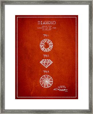 Diamond Patent From 1945 - Red Framed Print by Aged Pixel