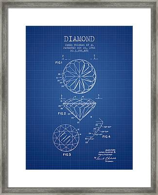 Diamond Patent From 1966- Blueprint Framed Print by Aged Pixel