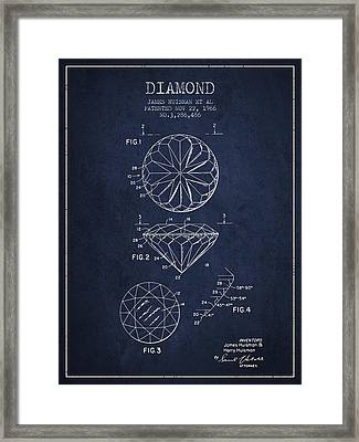 Diamond Patent From 1966- Navy Blue Framed Print by Aged Pixel