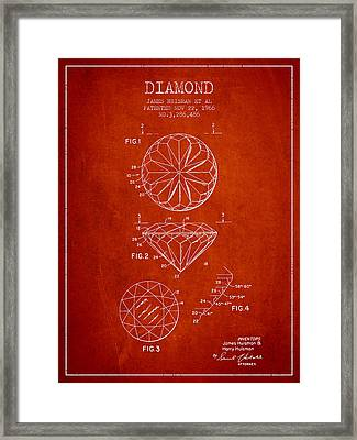 Diamond Patent From 1966- Red Framed Print by Aged Pixel