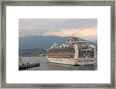 Diamond Princess Leaving Vancouver British Columbia Canada Framed Print by Christine Till