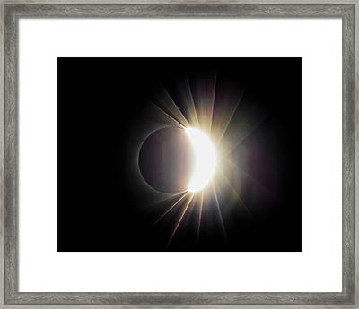 Framed Print featuring the photograph Diamond Ring With Flare During Solar Eclipse by Lori Coleman