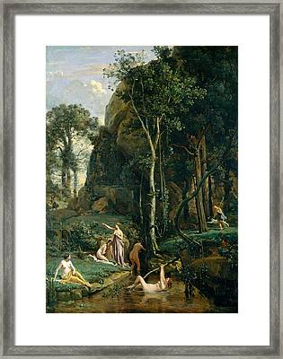 Diana And Actaeon. Diana Surprised In Her Bath Framed Print by Jean-Baptiste-Camille Corot