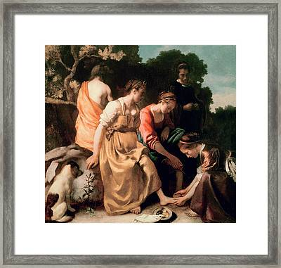 Diana And Her Companions Framed Print by Jan Vermeer