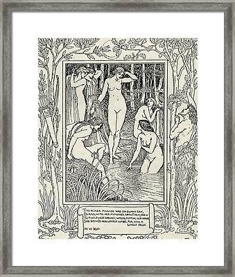 Diana And Her Nymphs Illustration For The Faerie Queen Framed Print by Walter Crane