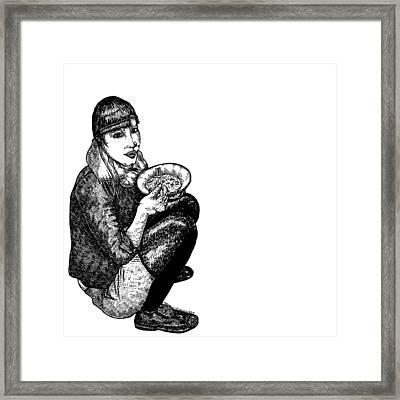 Diana Eating Framed Print by Karl Addison