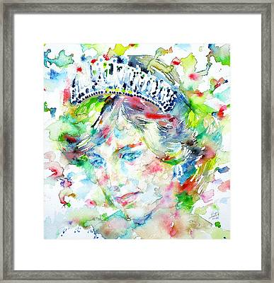Diana - Princess Of Wales - Watercolor Portrait.1 Framed Print by Fabrizio Cassetta