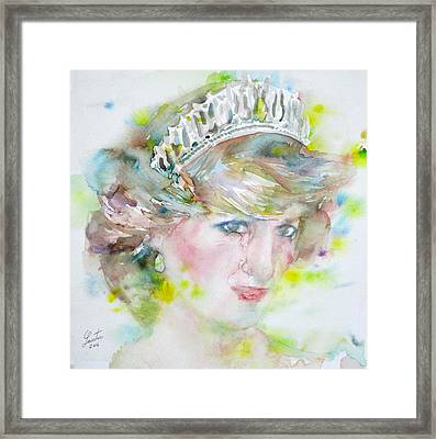 Diana - Princess Of Wales - Watercolor Portrait.2 Framed Print by Fabrizio Cassetta