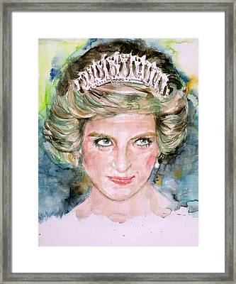 Diana - Princess Of Wales - Watercolor Portrait.4 Framed Print by Fabrizio Cassetta
