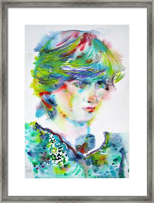Diana - Princess Of Wales - Watercolor Portrait.5 Framed Print by Fabrizio Cassetta