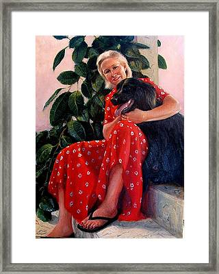 Framed Print featuring the painting Diane And Cinder by Donelli  DiMaria