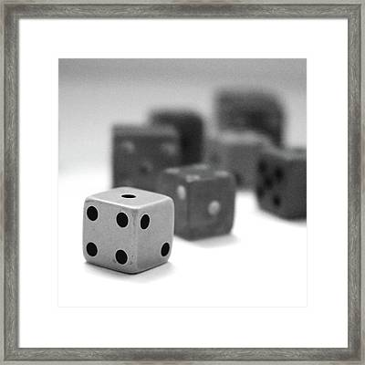 Dice 1- Black And White Photo By Linda Woods Framed Print