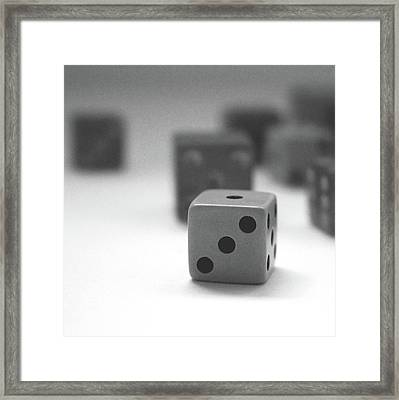Dice 2- By Linda Woods Framed Print