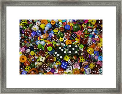 Dice Marbles With Buttons Framed Print by Garry Gay