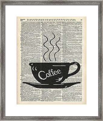 Dictionary Art Hot Coffee Cup Framed Print by Jacob Kuch
