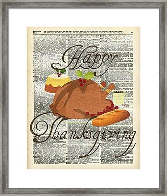 Dictionary Art - Thanksgiving Turkey Framed Print